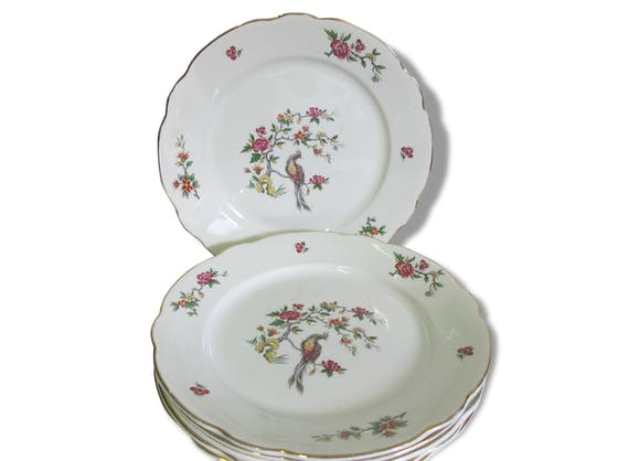 digoin sarreguemines 6 superbes assiettes plates en faience v ritable opaque d cor floral et. Black Bedroom Furniture Sets. Home Design Ideas