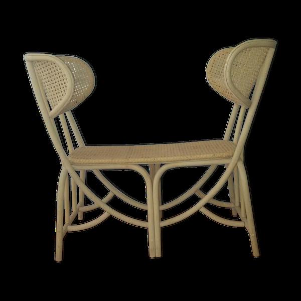 Banquette pour une entrée ou autre    ce meuble est un prototype de designer    il a été réalise par un grand artisan vannier du centre manche dans les années   70-80   il sort des réserves de la vannerie et il n'a jamais été utilisé.   c'est une pièce unique le modèle n'ayant finalement jamais été mis en fabrication   etat exceptionnel