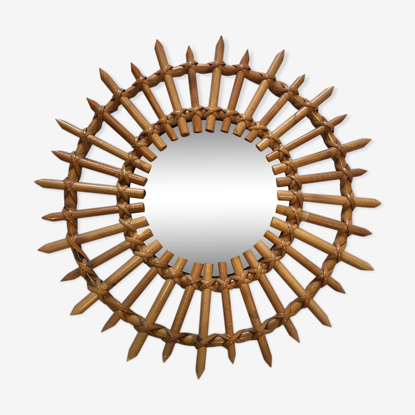 Mirror rattan sun 43x43cm
