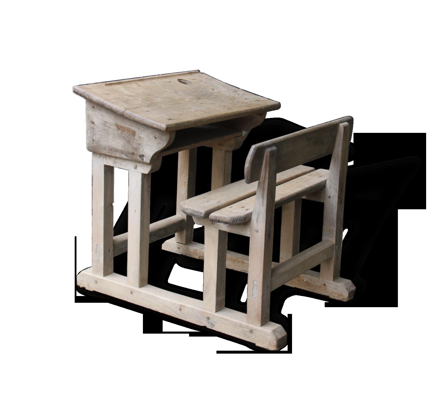 Petit bureau écolier vintage bois brut monobloc wood wooden