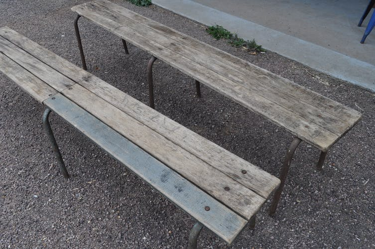 Pair of school benches