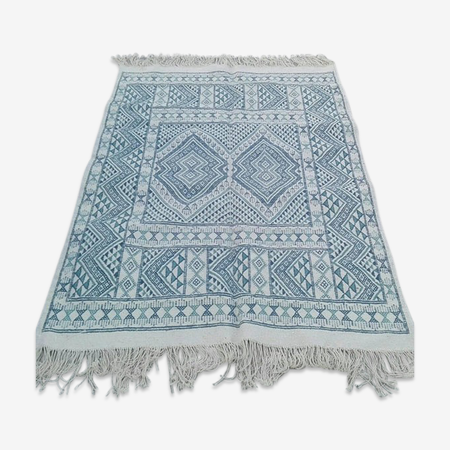 Tapis bleu et blanc tunisien 120x180cm