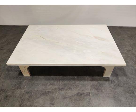 Table basse en marbre blanc vintage années 1970