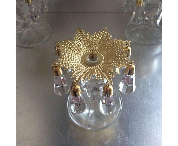Série de 3 bougeoirs Preciosa à pampilles cristal de bohème des années 70