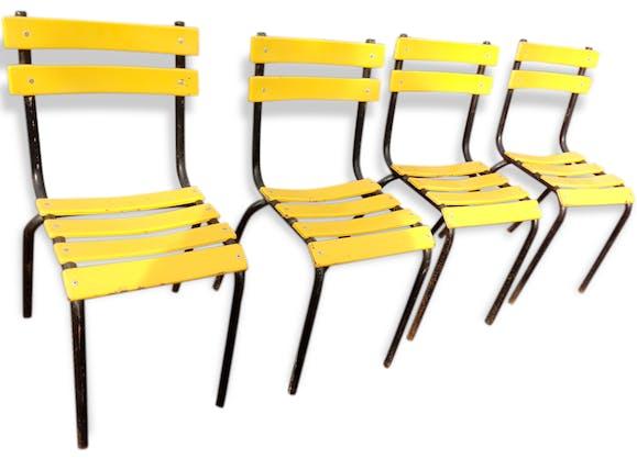 4 chaises bistrot jaunes en metal ann e 70 m tal jaune for Chaise annee 70