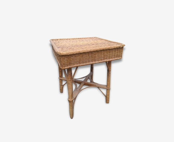 Ancienne table basse de jardin en osier - rattan and wicker - brown ...