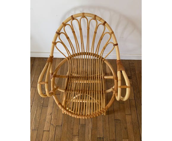 Paire de fauteuils en rotin vintage