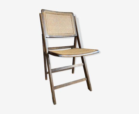 Chaise pliante en bois et cannage