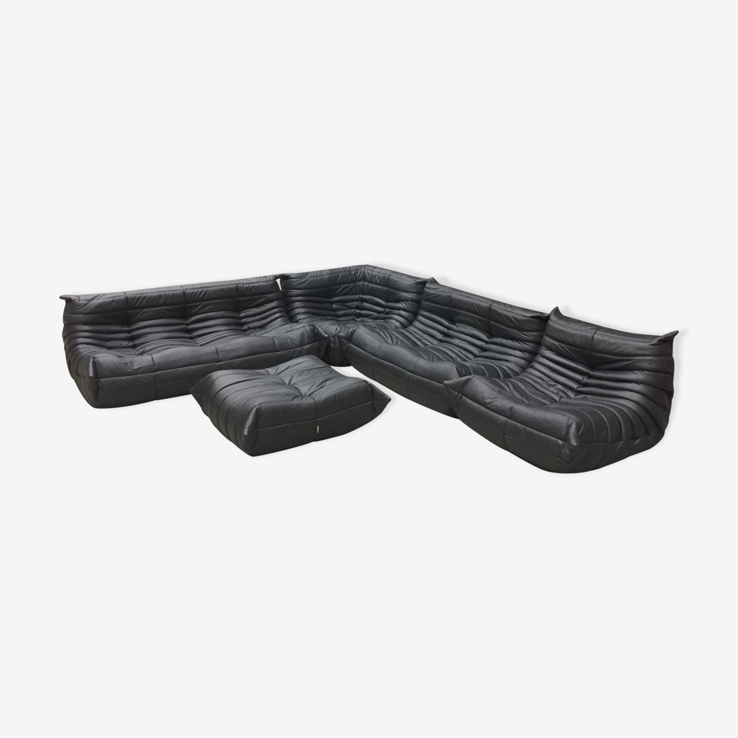 """Set de canapé """"Togo"""" en cuir gris métallique par Michel Ducaroy pour Ligne Roset"""