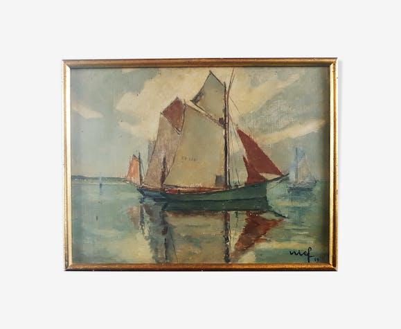 Peinture sur panneau voilier