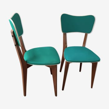 Pair of chairs vintage 50s style Scandinavian green leatherette