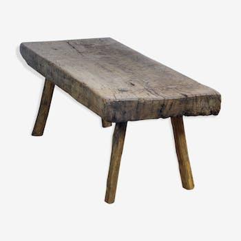 Table de boucher en chêne lourd antique, années 30