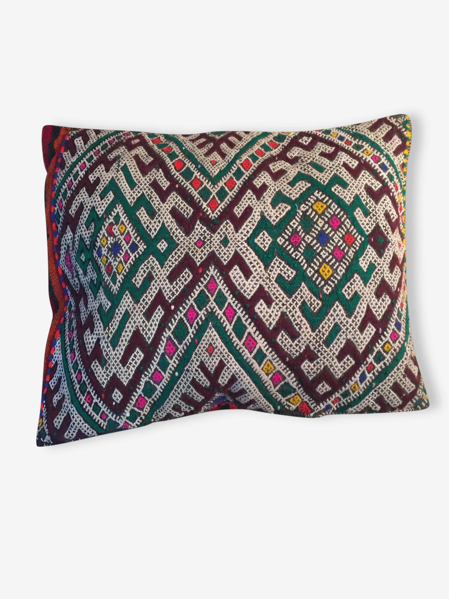 Coussin kilim ancien berbère pure laine 44cmx35cm