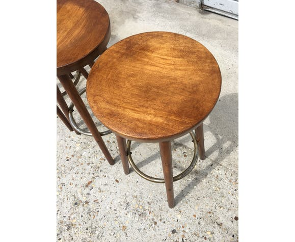 Set of 4 high solid wooden stools