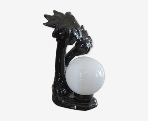 "Black ceramic ""palm"" lamp and white opaline ball 70/80"