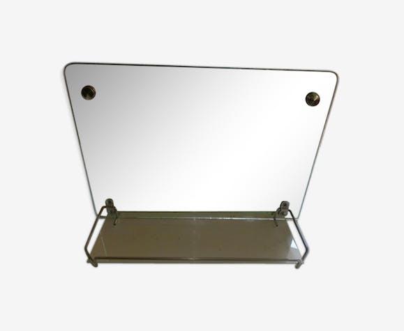 Miroir rétro de salle de bain avec tablette 45x32cm - verre et ...