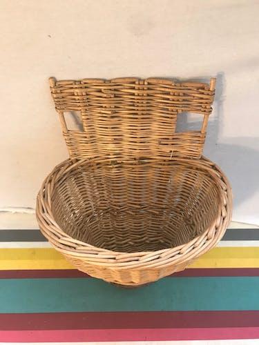 Ancien panier vendange cueillette en osier tressé décoration vintage