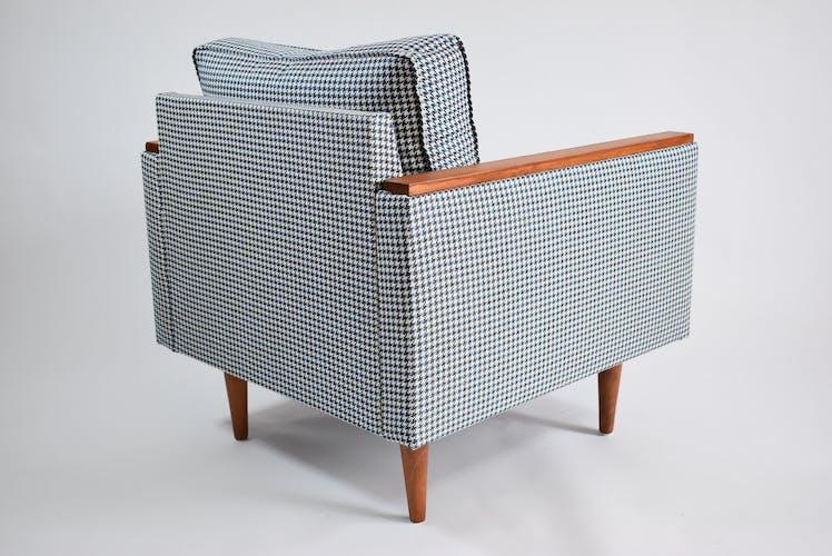 Fauteuil vintage original ZWP-8 Cube, entièrement restauré, tissu pied de poule, années 1970