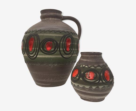 Deux vases décor spirales manufacture W.Germany 1960