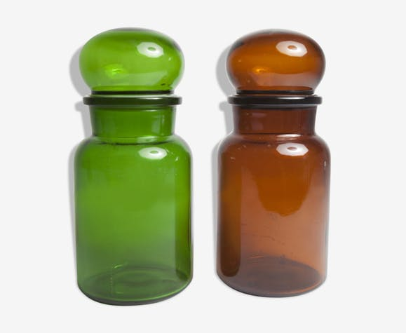 Pair of green and Brown pharmacy bottles
