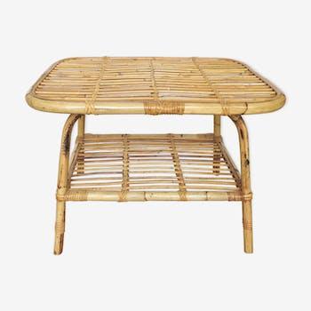 Rattan And Bamboo Coffee Table 60s Selency