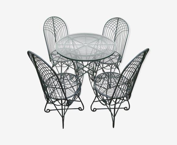 Table et chaises de jardin vintage - fer - vert - vintage ...