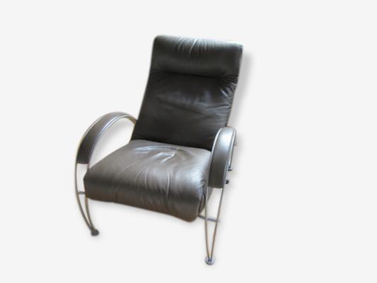 Fauteuil relax cobalt de la marque neology cuir marron design
