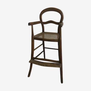 Chaise haute pour enfant en bois courbé et cannage
