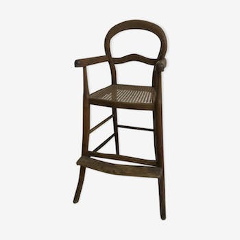 High chair in bentwood and caning