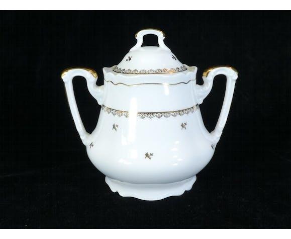 Service a café en porcelaine blanche et doré Limoges France