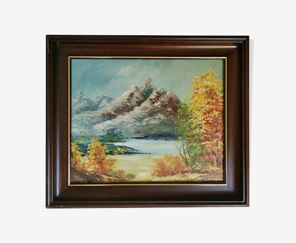 Paysage de montagne signé Huile sur toile