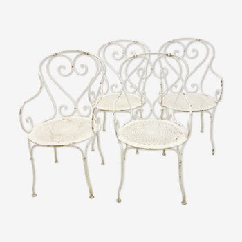 Wrought iron garden armchairs