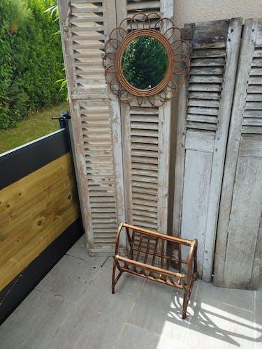 Porte revues en bambou et rotin années 70