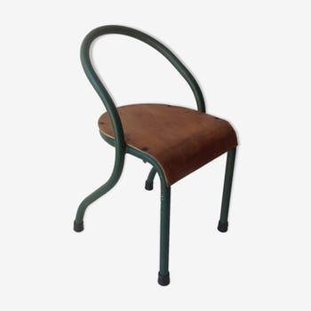 chaise d 39 cole des ann es 60 m tal vert vintage stpigki. Black Bedroom Furniture Sets. Home Design Ideas
