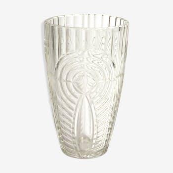 Vase transparent en verre avec motifs géométriques années 70