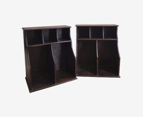 Set de deux anciens porte documents casiers en bois