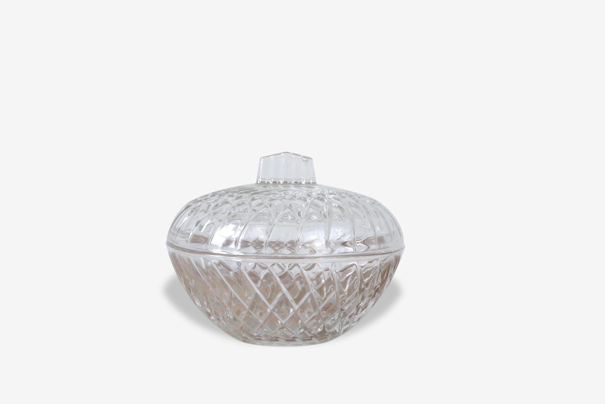 Bonbonnière ronde en verre ciselé