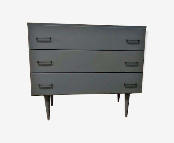 commode repeinte - bois (matériau) - gris - vintage - t4fgw6x