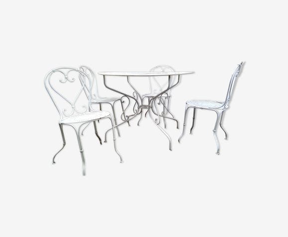 Fer Forgé Blanc Chaises Table Ensemble 1900 En 4 Ronde Et YWEIDe29H