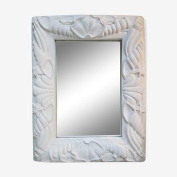 Miroir ancien en plâtre des années 1940 - 69x90cm