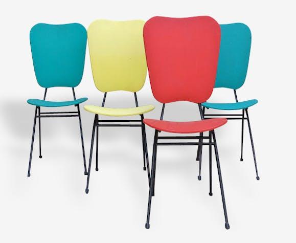 4 chaises vintage française multicolores