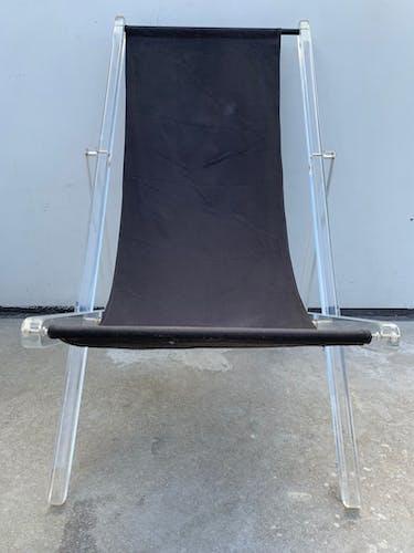 Chaise longue relax noire et pliante en altuglas 1960
