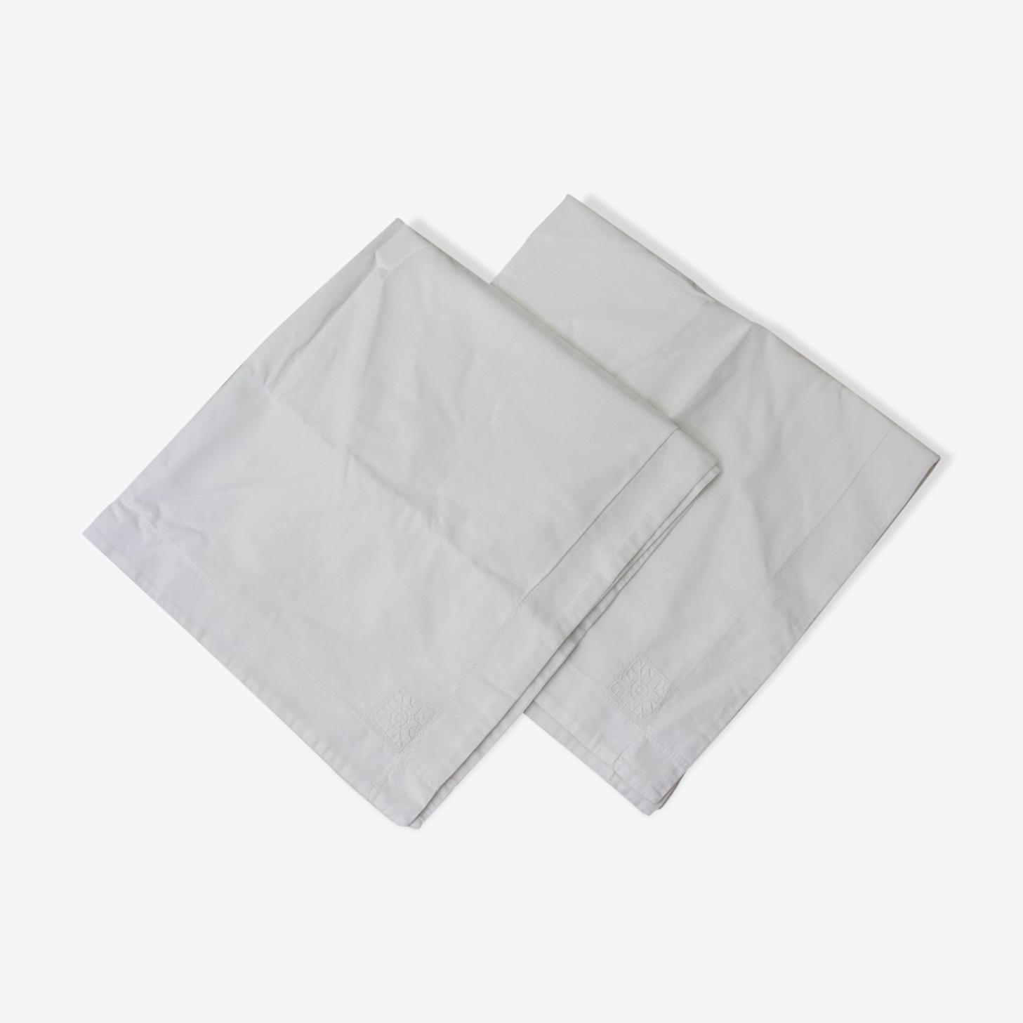 Paire taies d'oreiller blanc coton