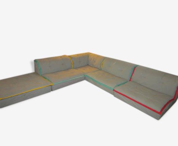 canap modulable roche bobois 1971 tissu gris vintage 97091. Black Bedroom Furniture Sets. Home Design Ideas