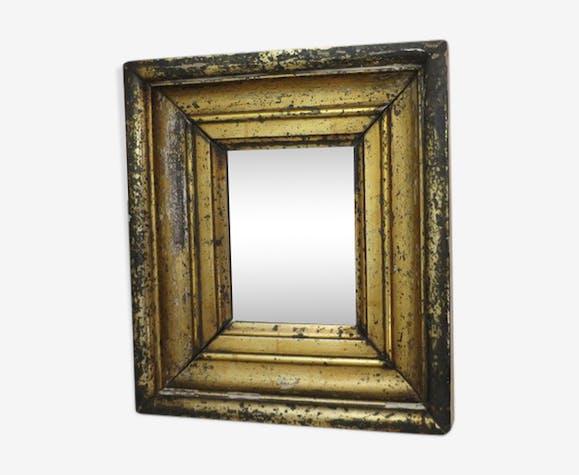 miroir encadrement bois massif dor 31x36cm bois mat riau dor vintage a06kbcr