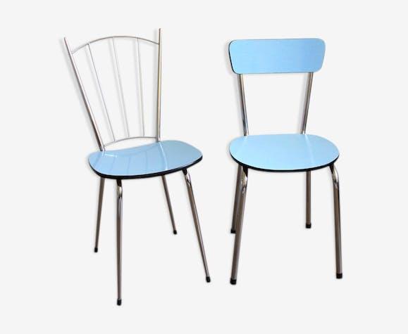 duo de chaises en formica des ann es 60 formica bleu. Black Bedroom Furniture Sets. Home Design Ideas