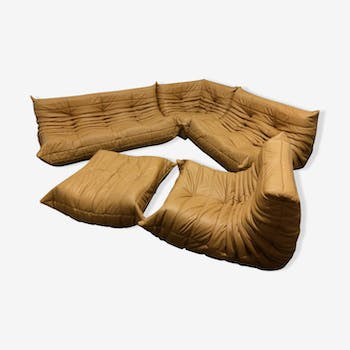 """Togo"" sofa set in camel leather by Michel Ducaroy for Ligne Roset"