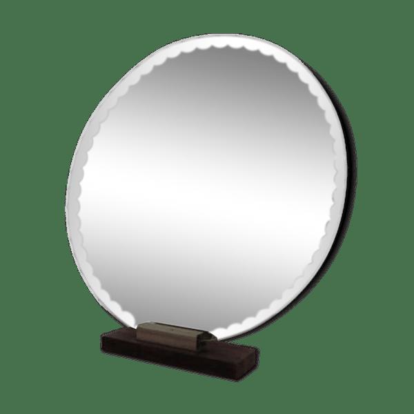 Miroir rond biseaut support palissandre ann es 40 50 for Miroir rond original