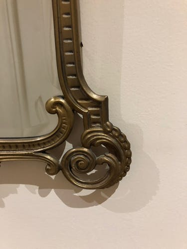 Brass mirror from the 1950s - 60x36cm