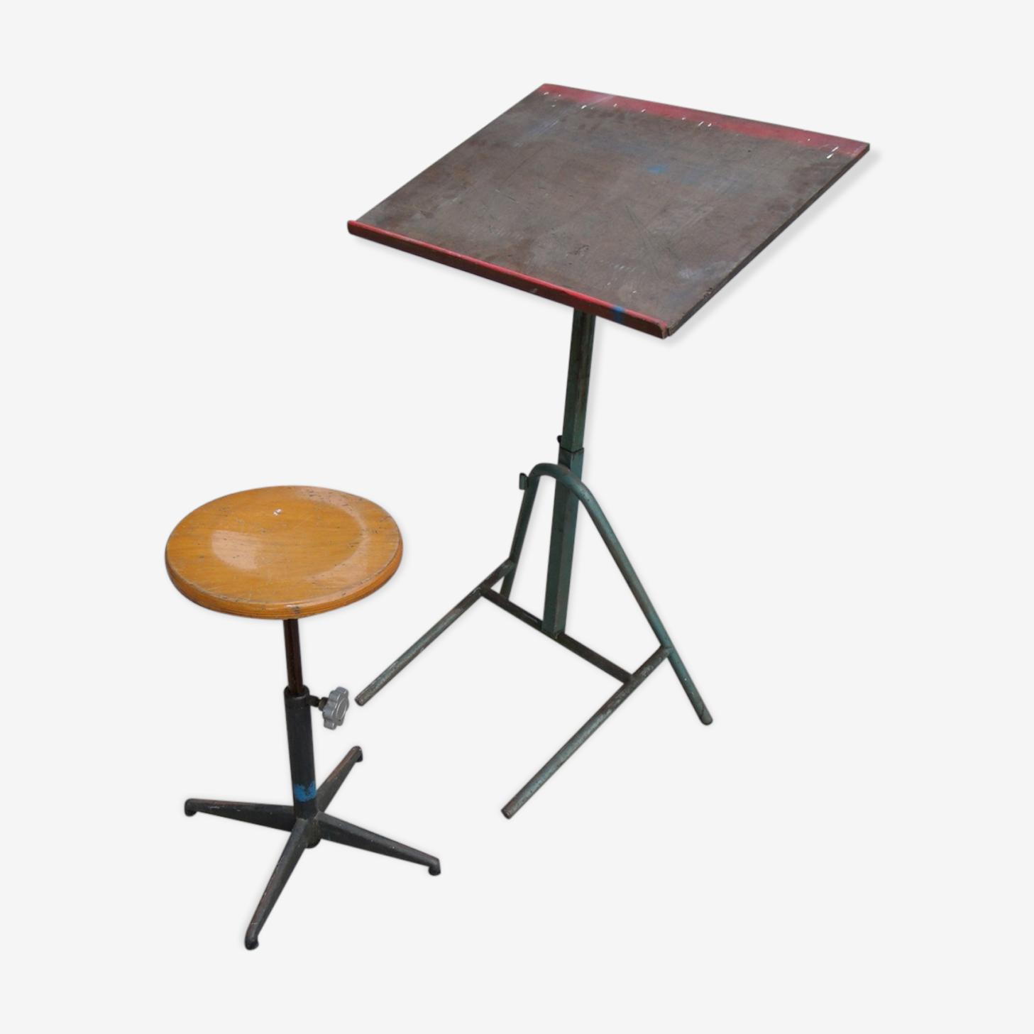 Table à dessin d'école et son tabouret industriel métal et bois réglable